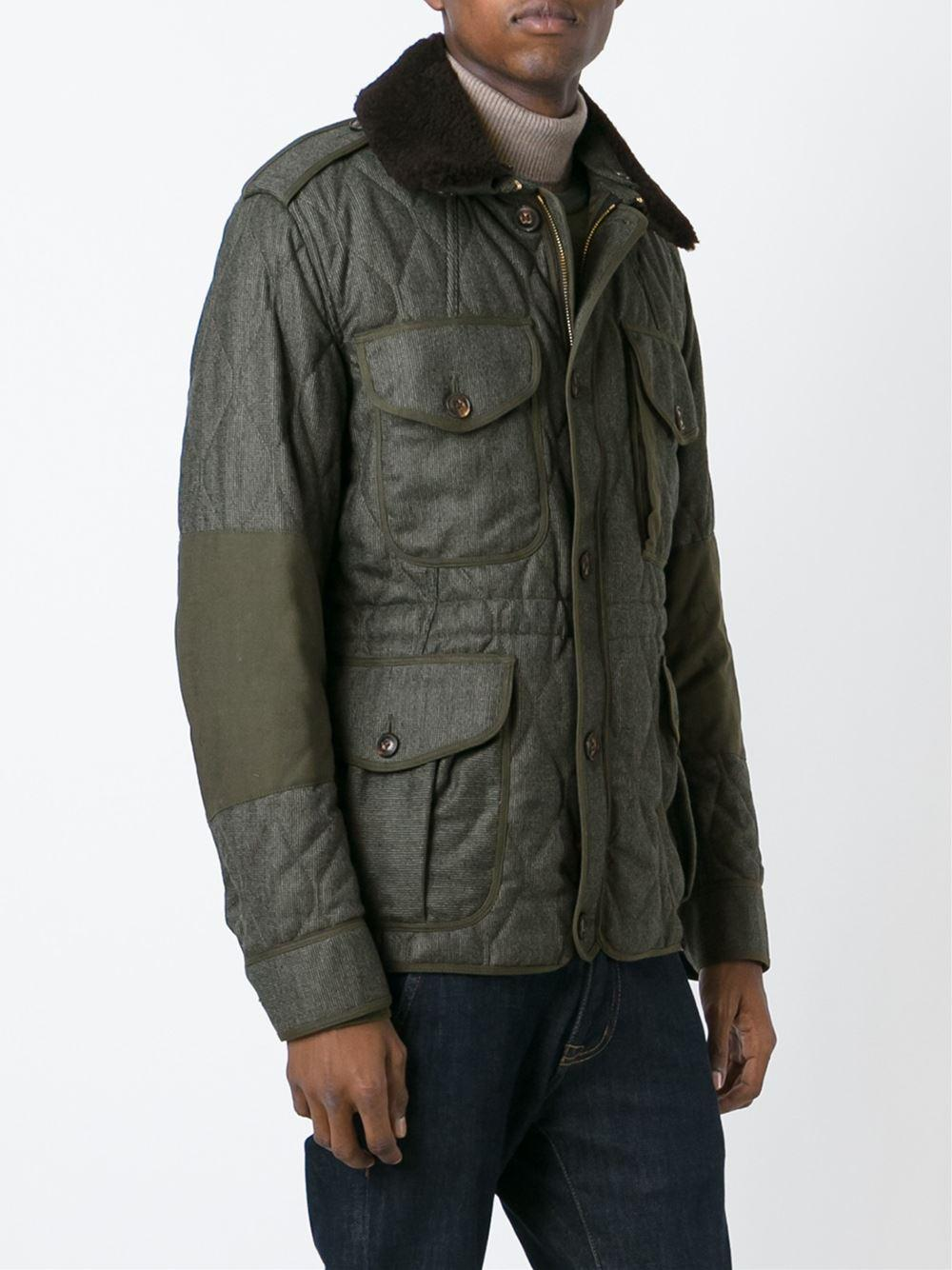 Burberry Brit Multi Pockets Quilted Jacket In Green For