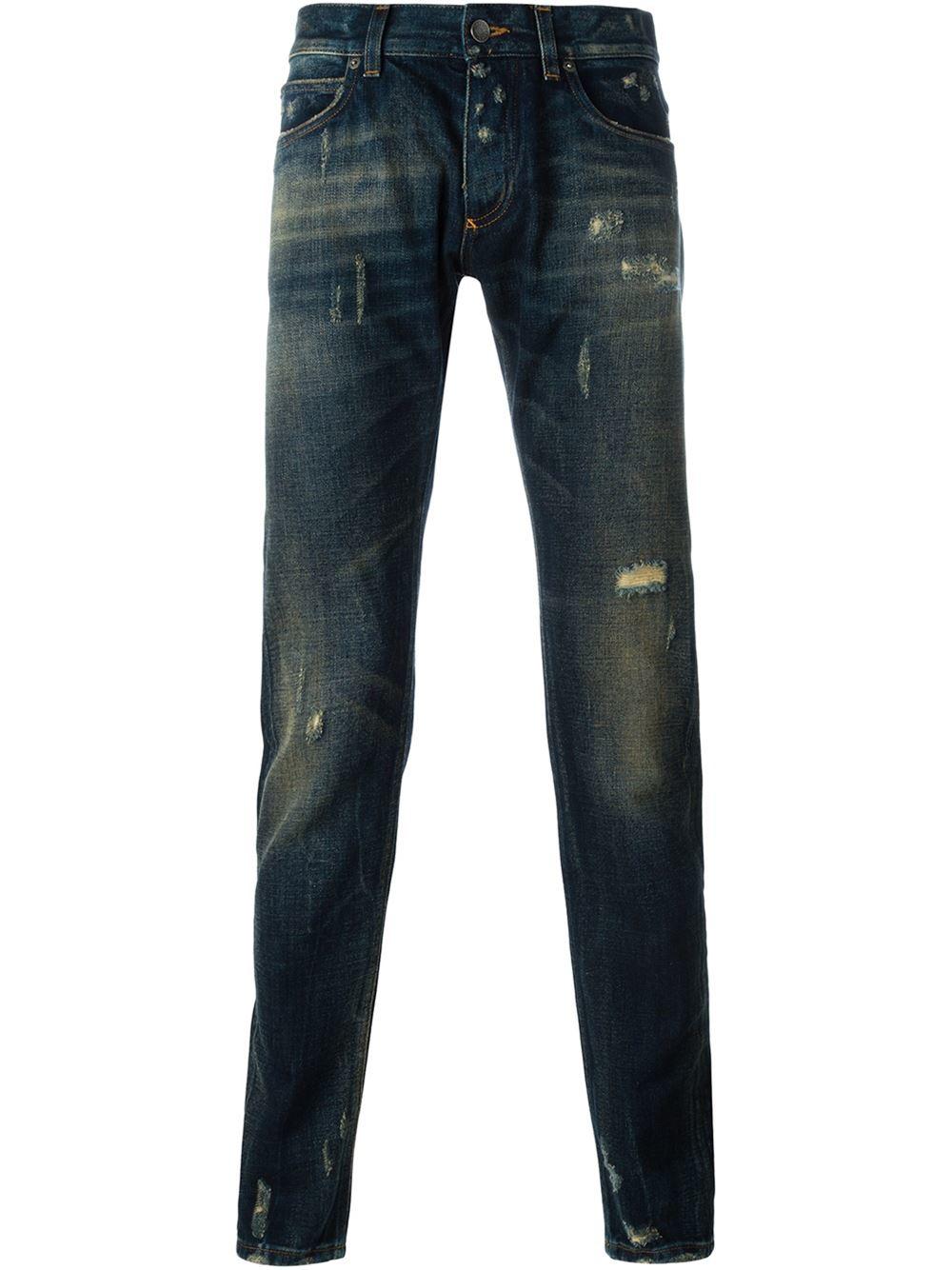 lyst dolce gabbana distressed jeans in blue for men. Black Bedroom Furniture Sets. Home Design Ideas