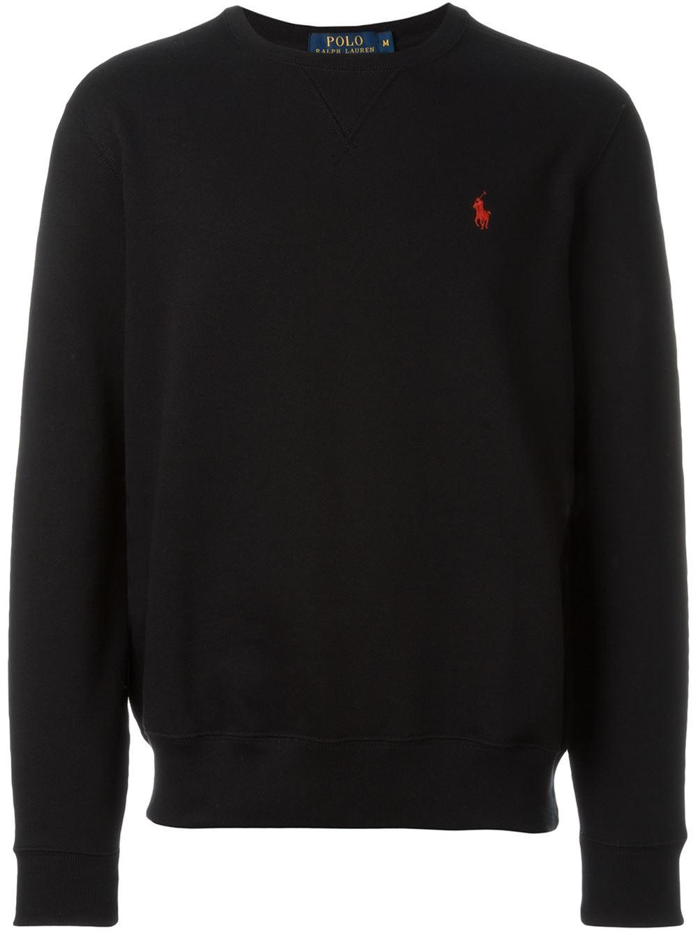 polo ralph lauren logo sweatshirt in black for men lyst. Black Bedroom Furniture Sets. Home Design Ideas