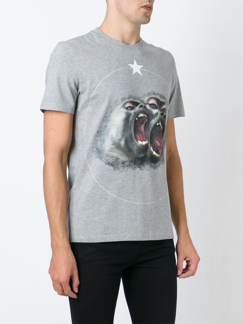 Givenchy baboon print t shirt in gray for men lyst for Givenchy t shirt man