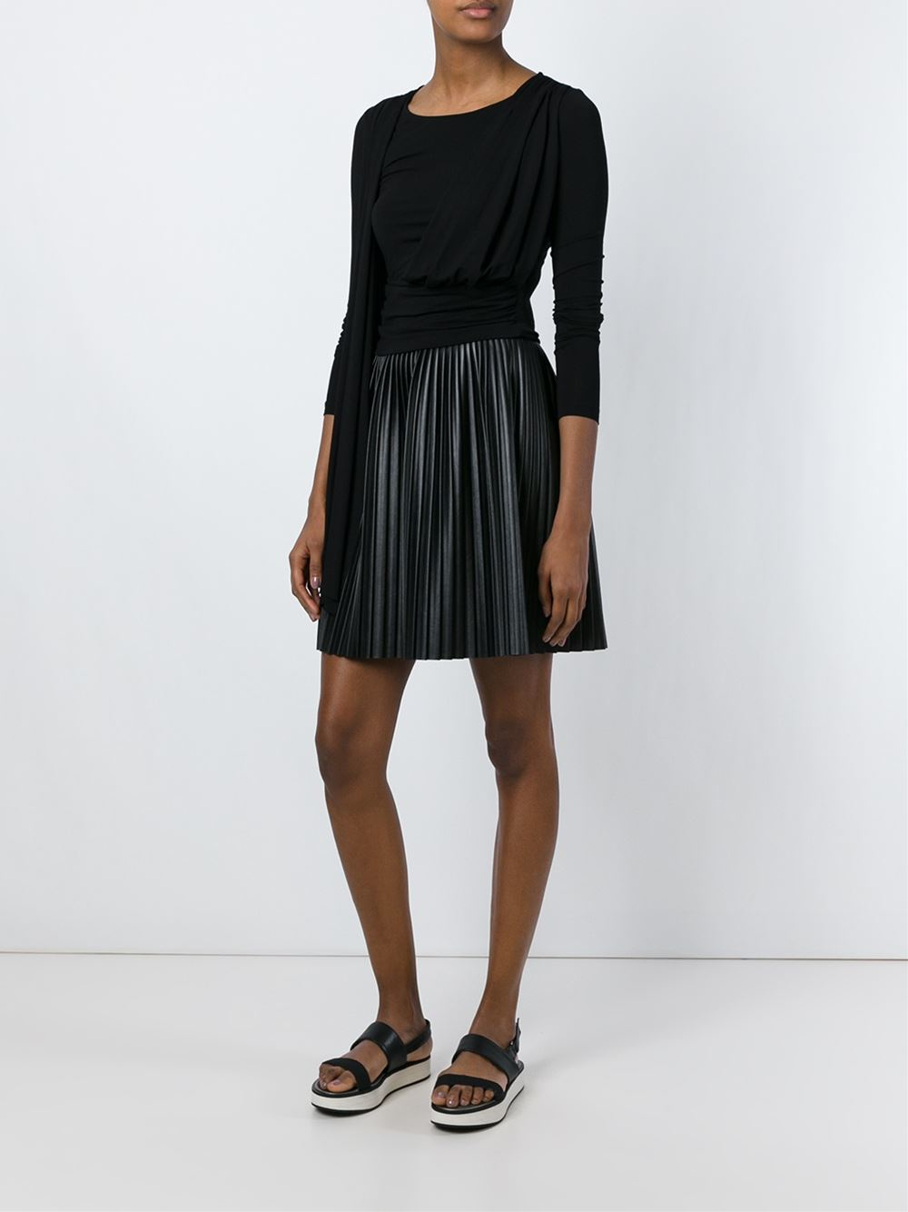 Mm6 by maison martin margiela draped top in black lyst for Mm6 maison margiela