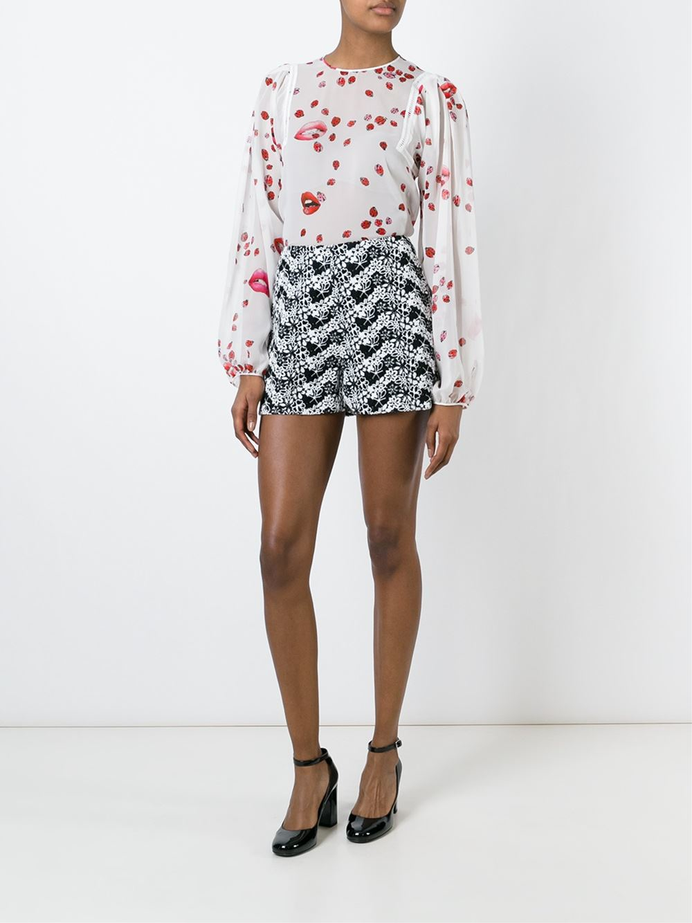 Giamba floral embroidered shorts in black lyst