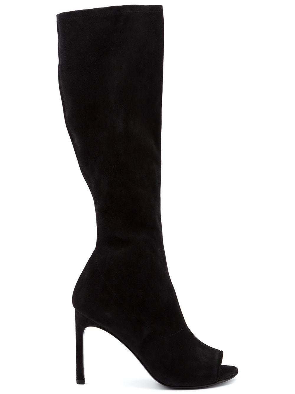 stuart weitzman peep toe knee high boots in black lyst