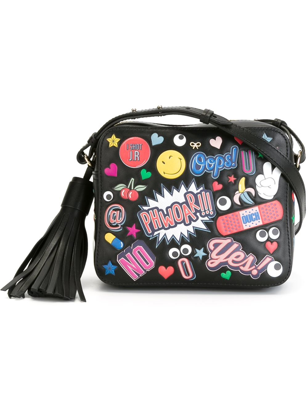 Anya hindmarch all Over Stickers Crossbody Bag in Black