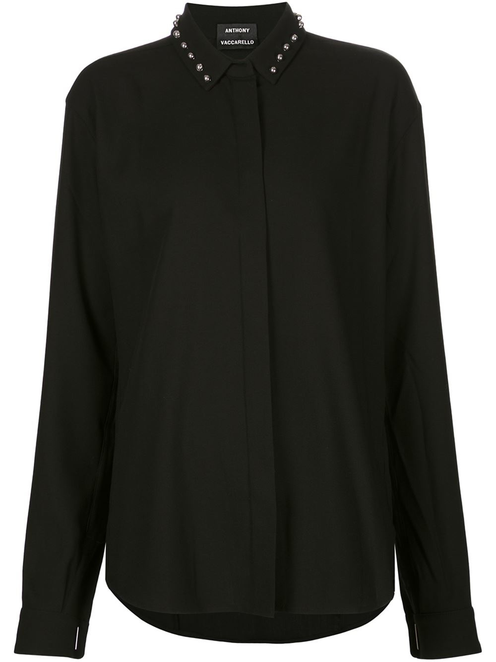 Anthony vaccarello studded collar shirt in black lyst for Tony collar dress shirt