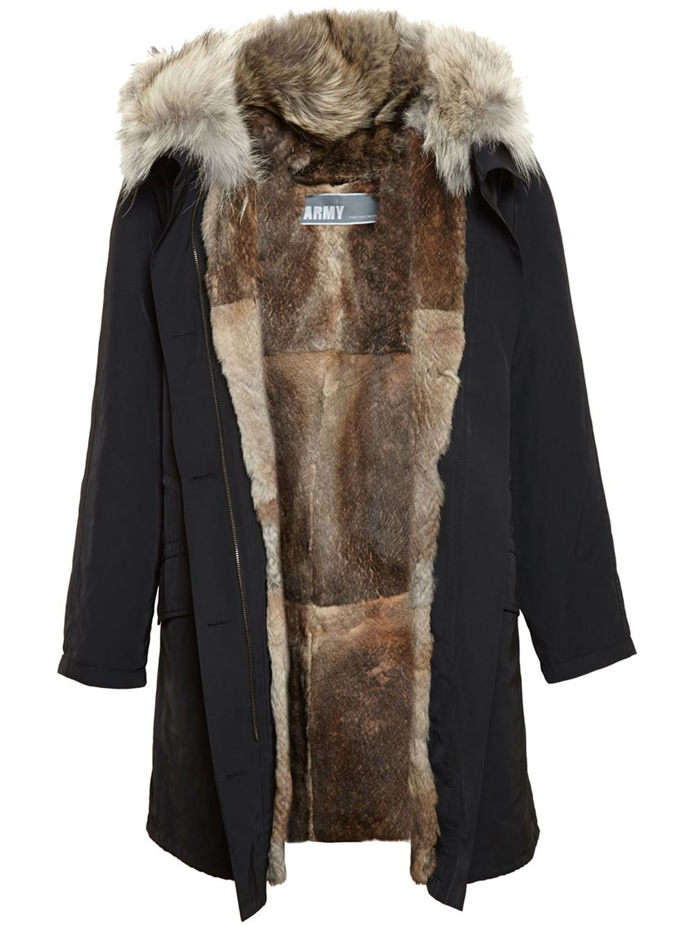 lyst army by yves salomon rabbit fur lined parka in black. Black Bedroom Furniture Sets. Home Design Ideas
