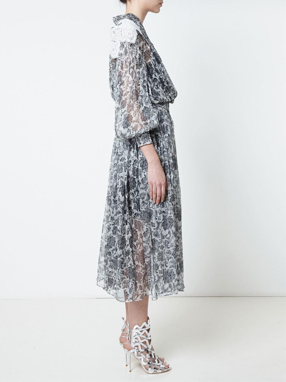 Lyst zimmermann empire embroidered dress in black