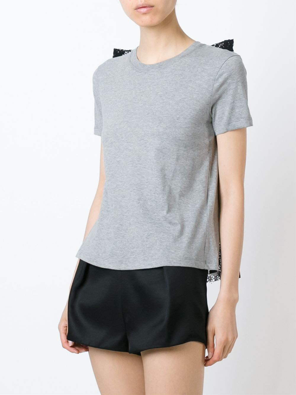 Red valentino lace bow detail t shirt in gray lyst for Red valentino t shirt