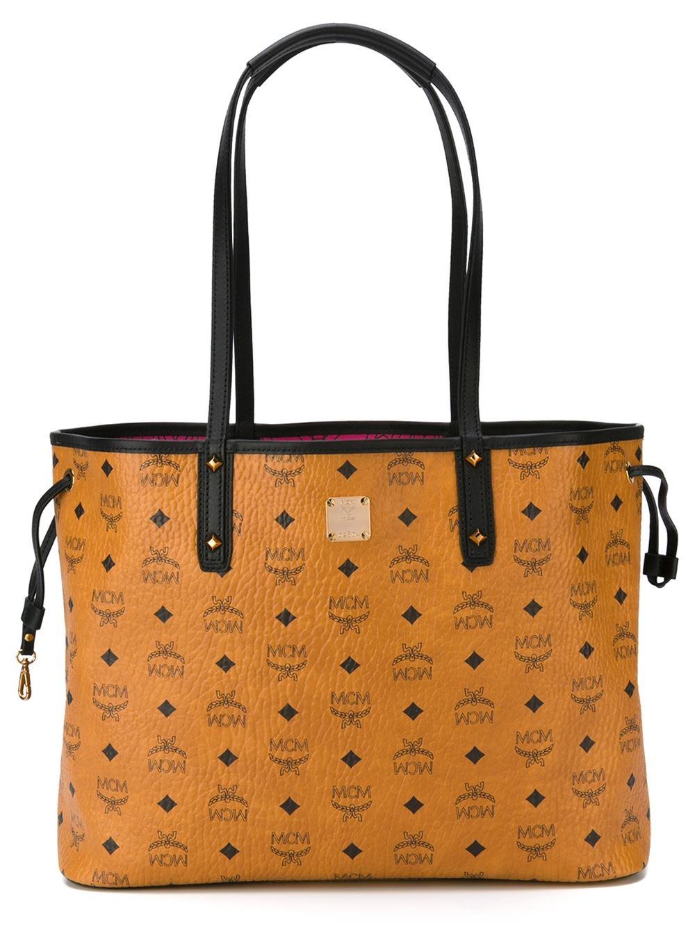 Lyst Mcm Logo Print Shoulder Bag In Brown