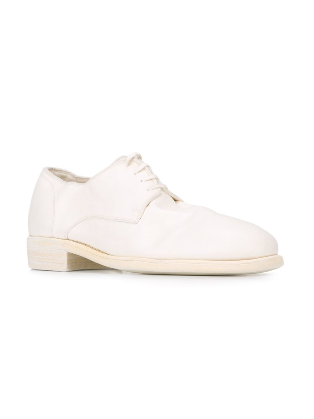 guidi stacked heel derby shoes in white for lyst