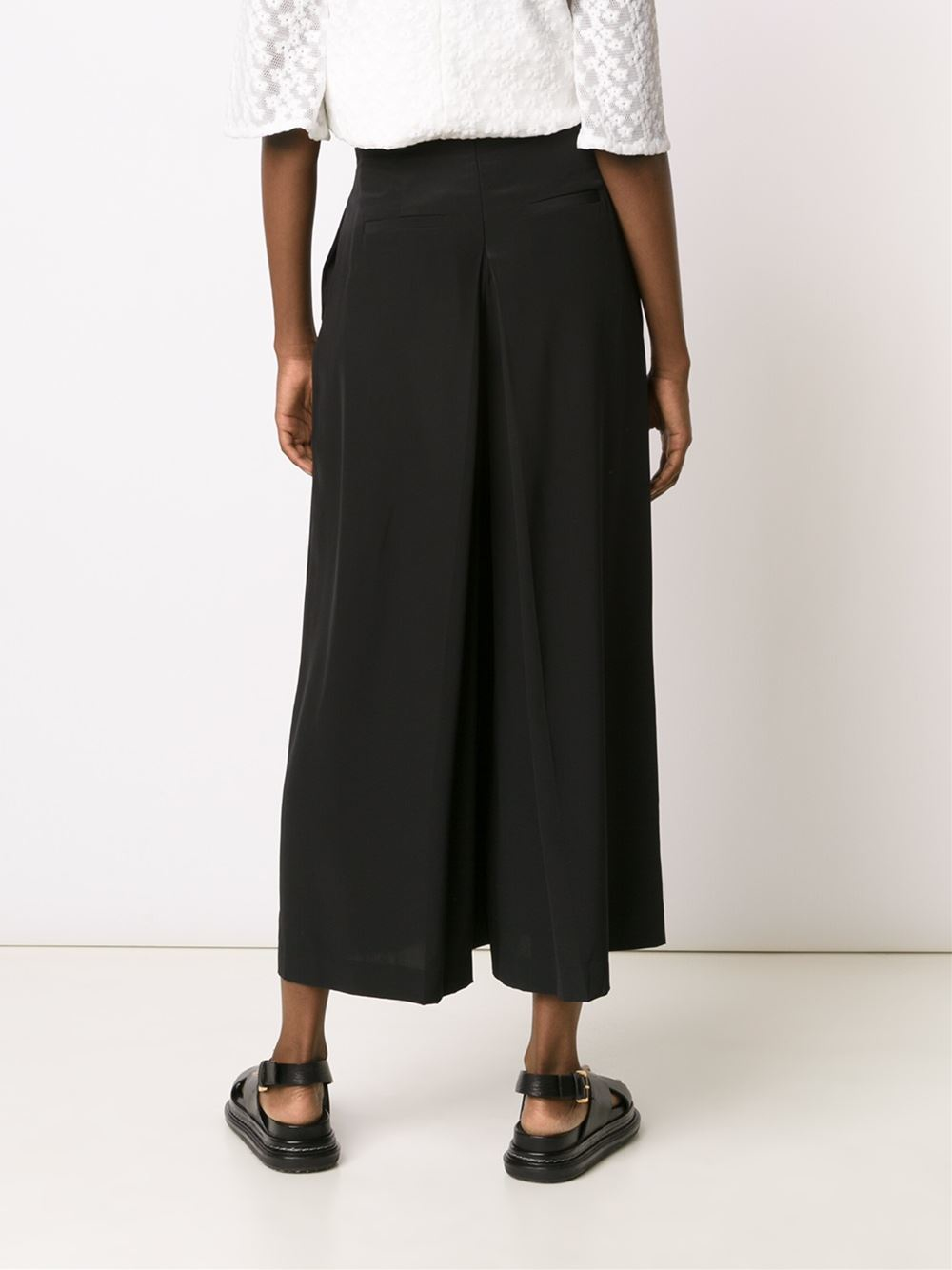 Tibi Cropped Palazzo Pants In Black Lyst
