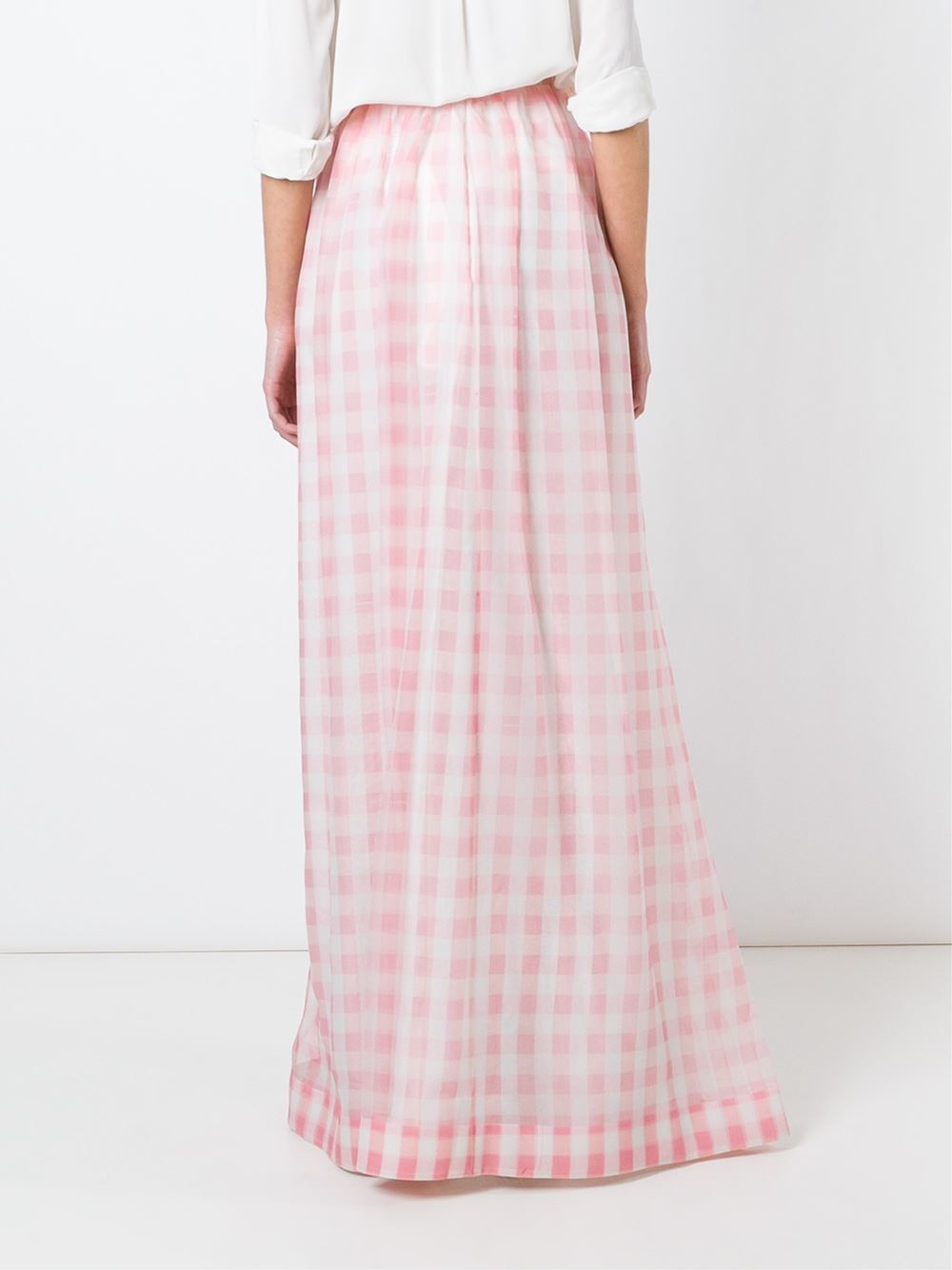 rochas checked maxi skirt in pink pink purple lyst
