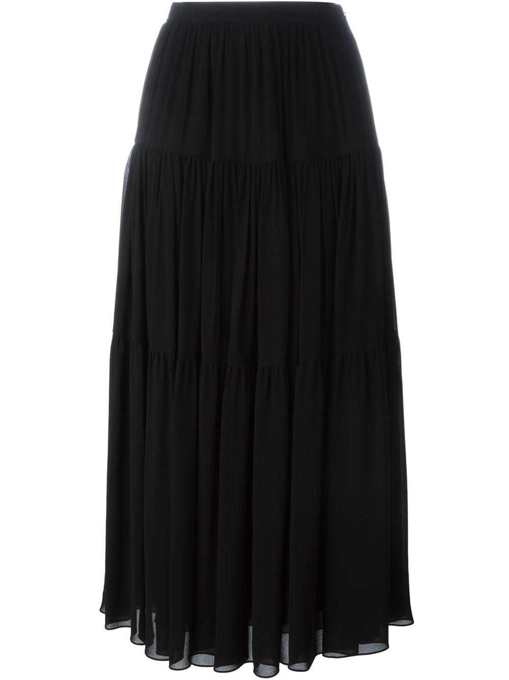 Saint Laurent Ruffled Maxi Skirt In Black Lyst
