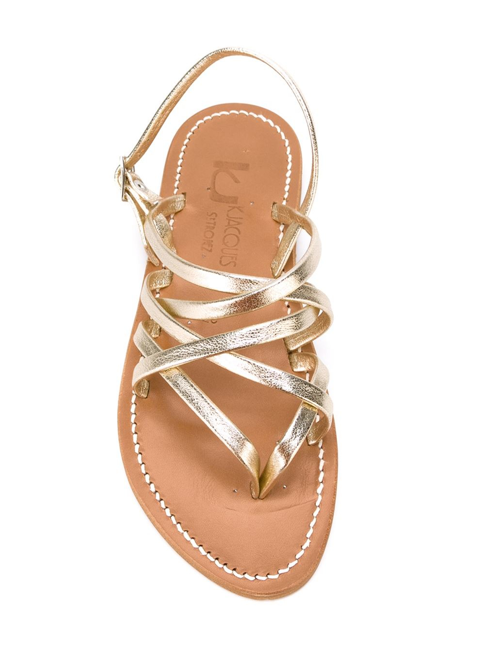 K Jacques Strappy Flat Sandals In Metallic Lyst