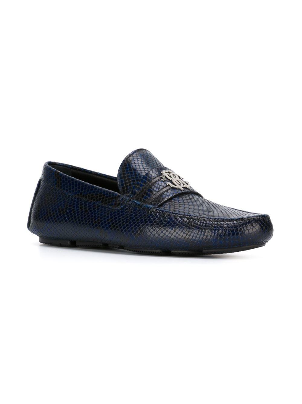 Roberto Cavalli Snakeskin Loafers In Blue For Men Lyst