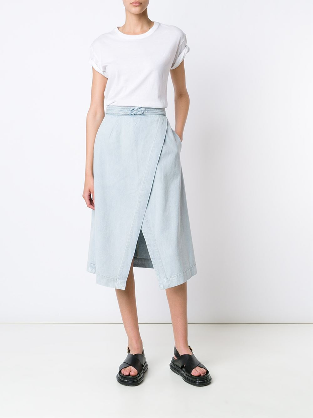 sea a line wrap skirt in blue lyst