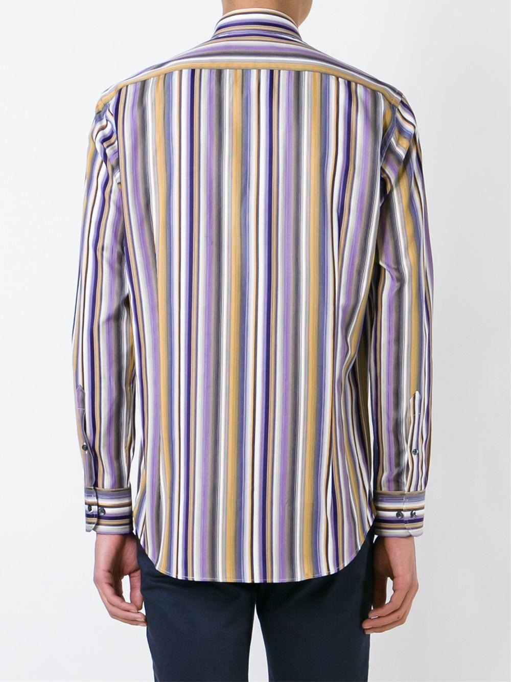 Etro striped button down shirt in orange for men pink for Striped button down shirts for men