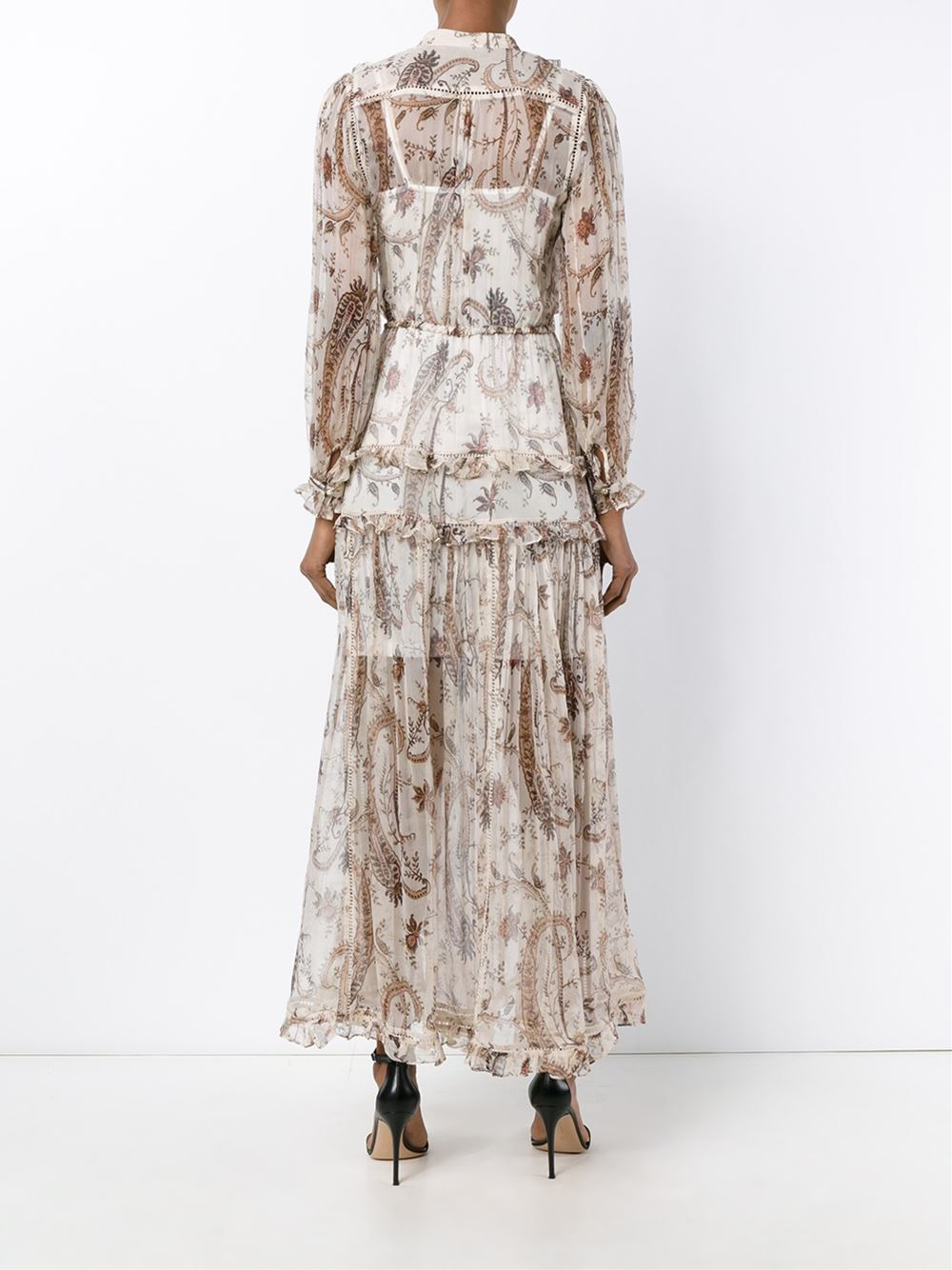 Zimmermann Silk Paisley Full Length Dress in Brown