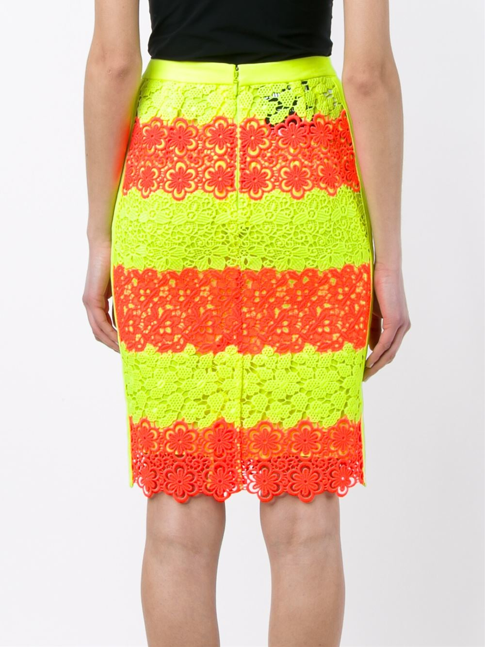 moschino floral neon lace pencil skirt in yellow lyst
