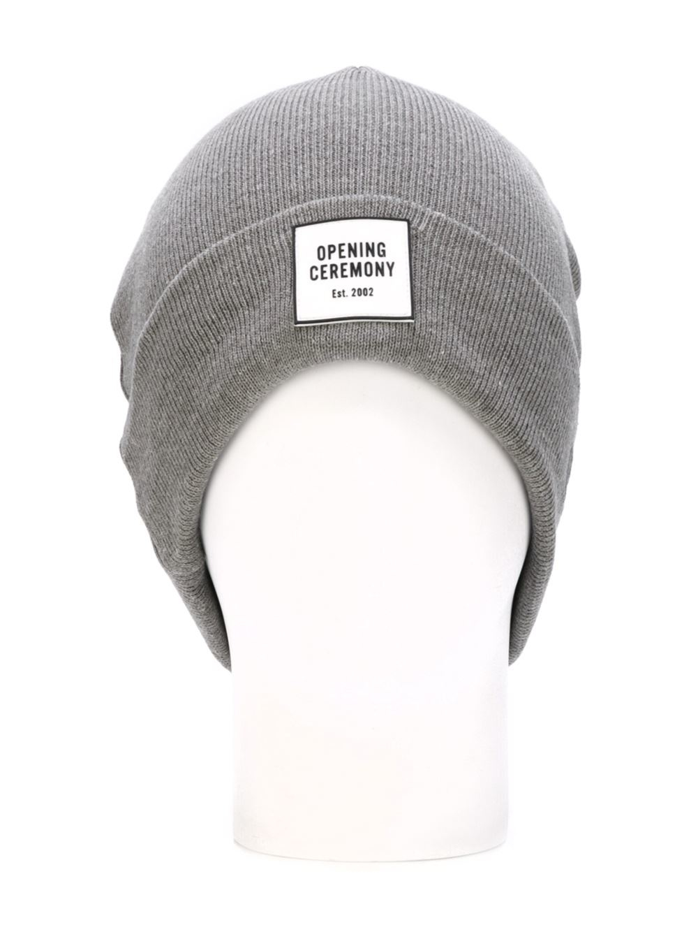 Opening Ceremony Logo Patch Beanie In Gray For Men Lyst