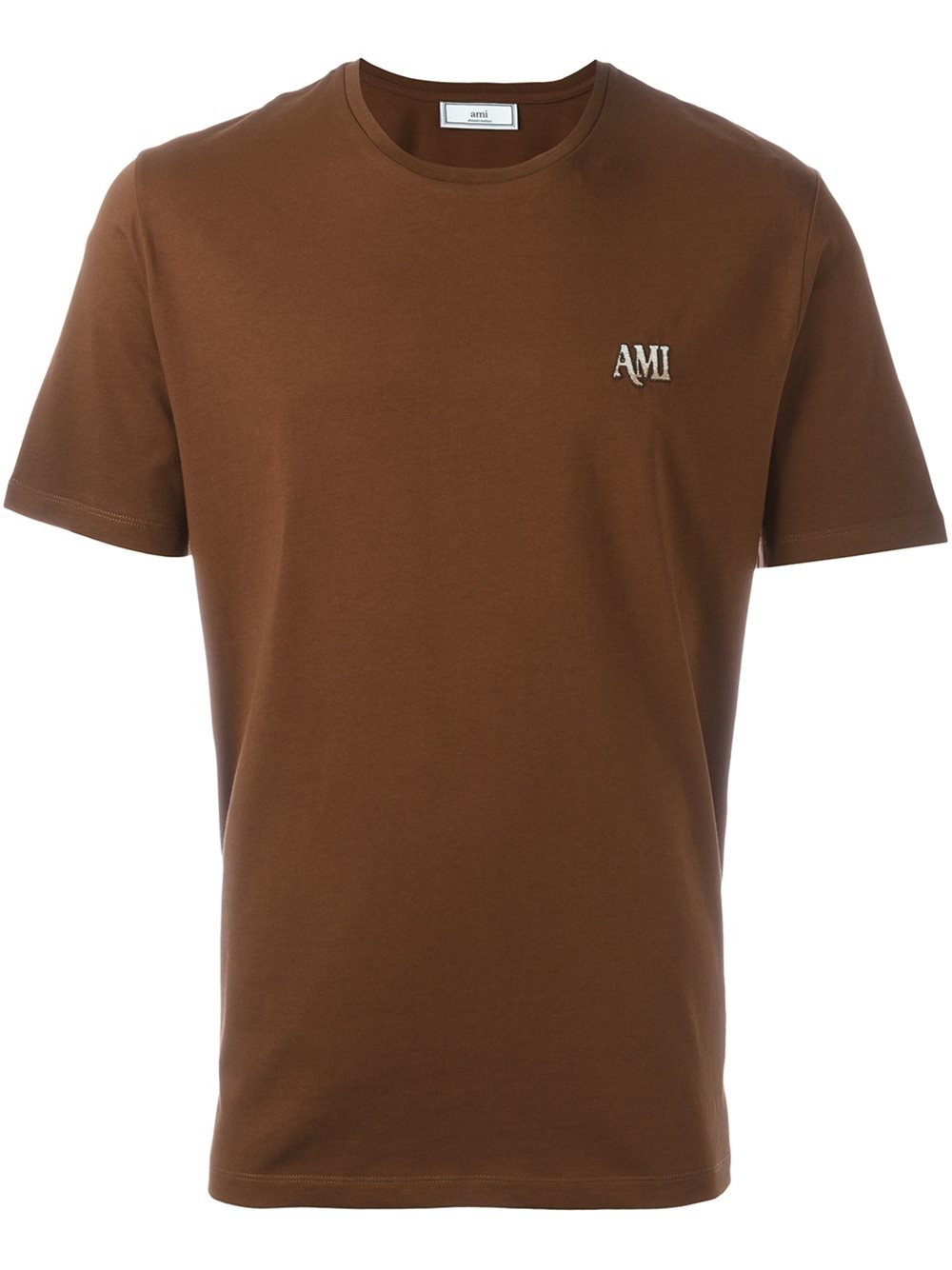 Ami Embroidered Logo T Shirt In Blue For Men Brown Lyst