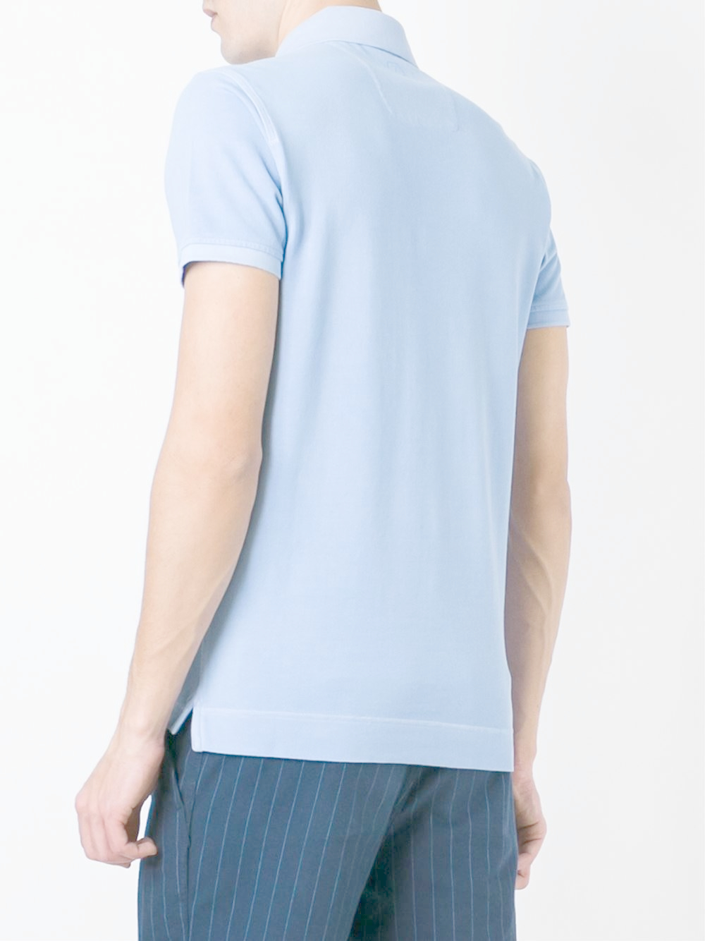 Z zegna chest pocket polo shirt in blue for men lyst for Men s polo shirts with chest pocket