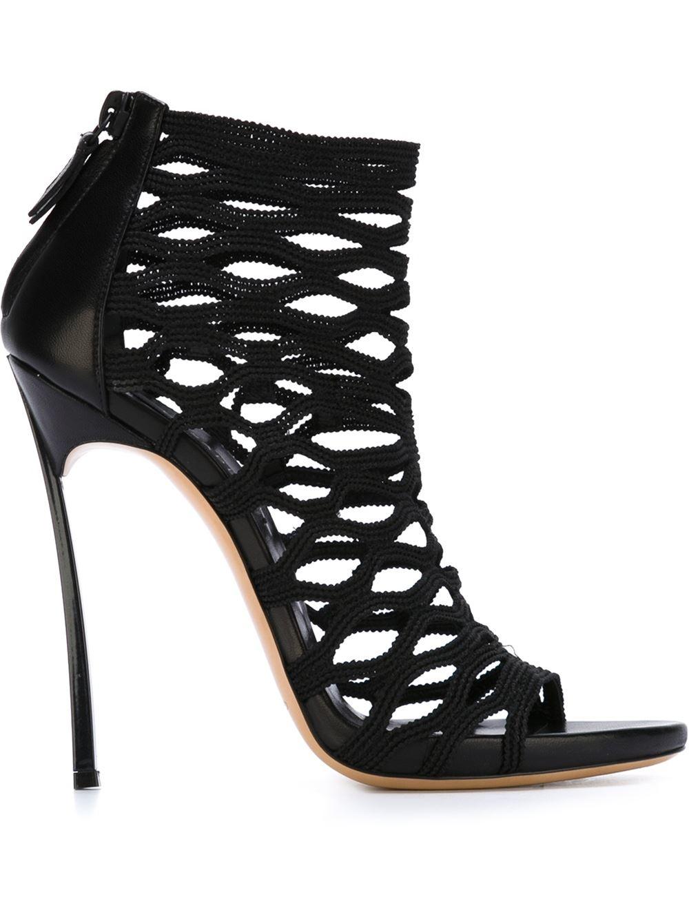 Lyst Casadei Strappy Stiletto Sandals In Black