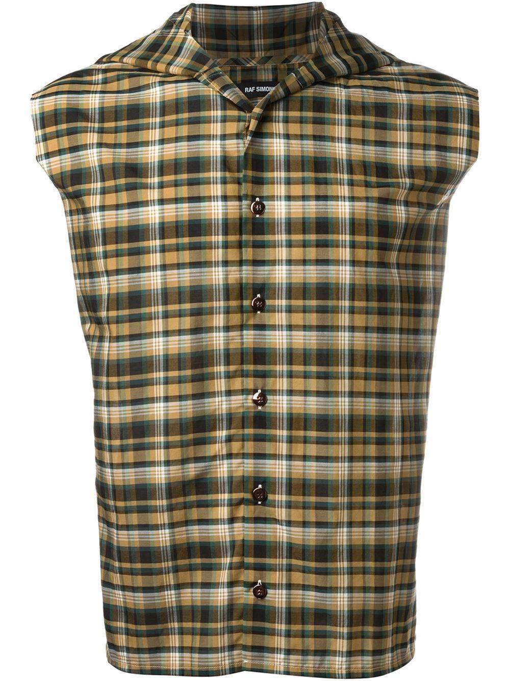 Raf simons plaid sleeveless hoodie button down shirt in for Sleeveless cotton button down shirts