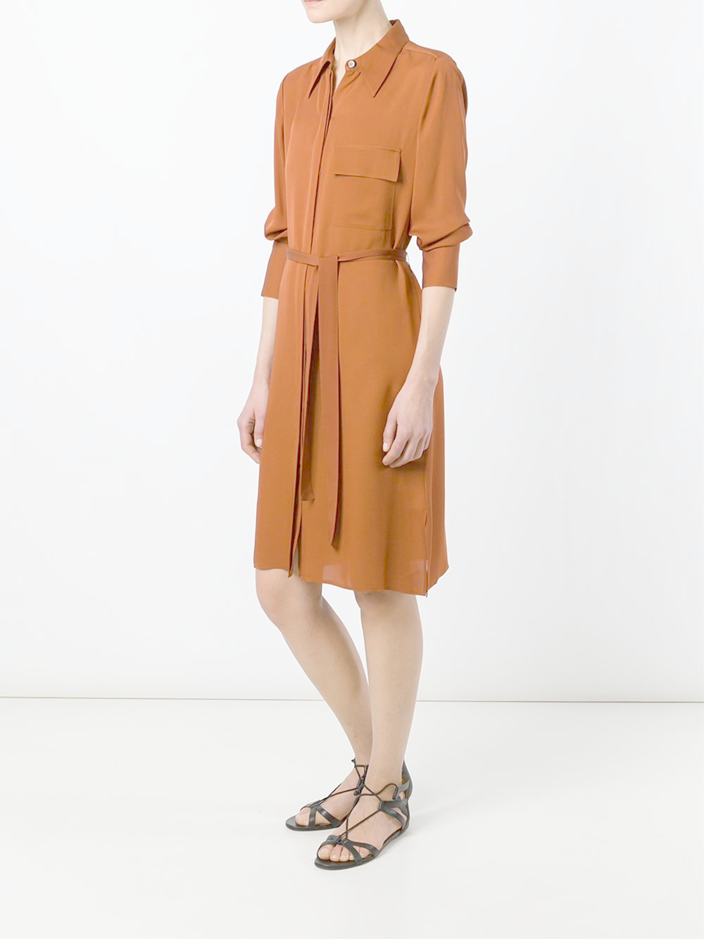 Lyst Theory Marbara Dress In Brown