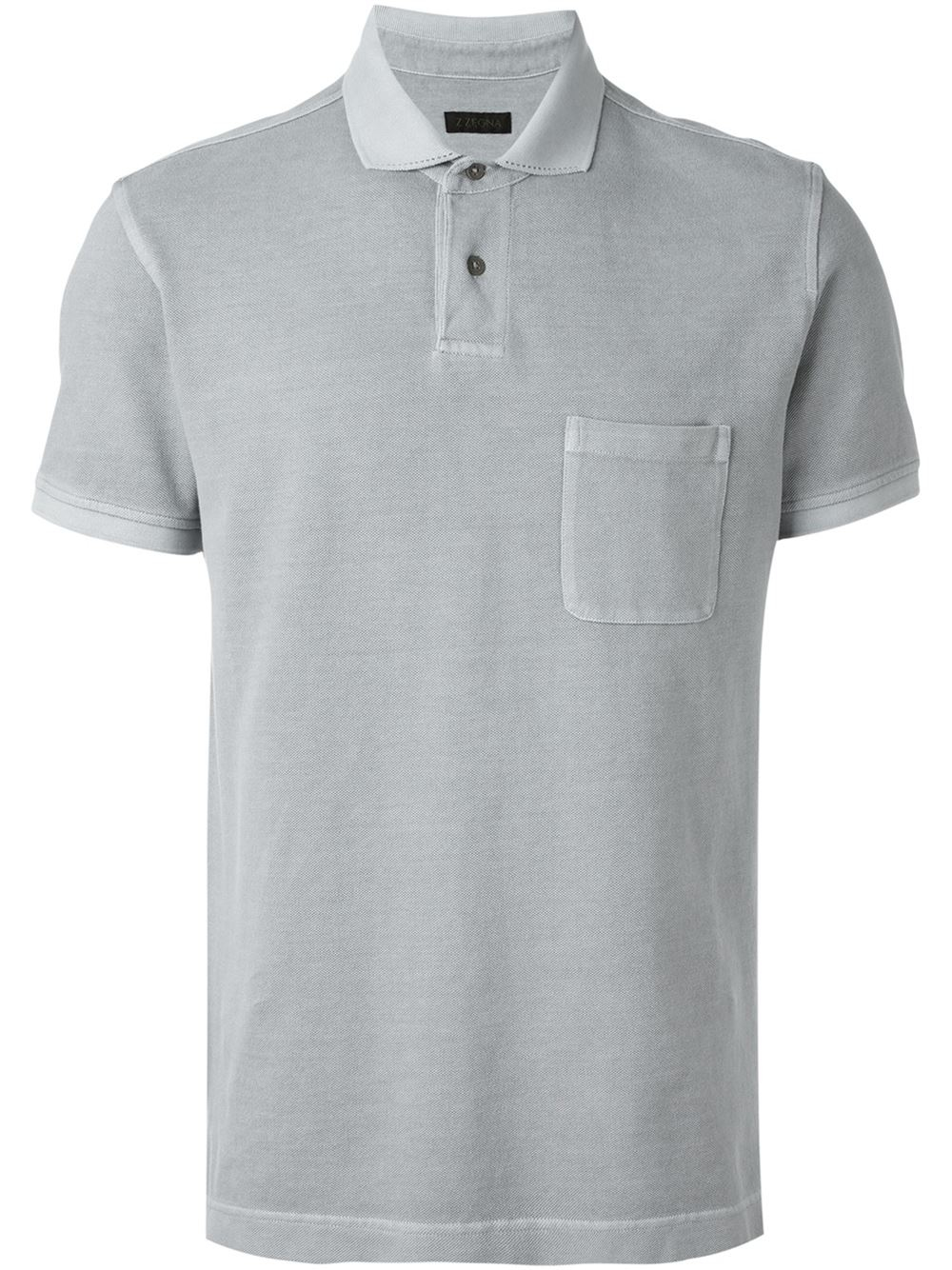 Z zegna chest pocket polo shirt in gray for men lyst for Men s polo shirts with chest pocket