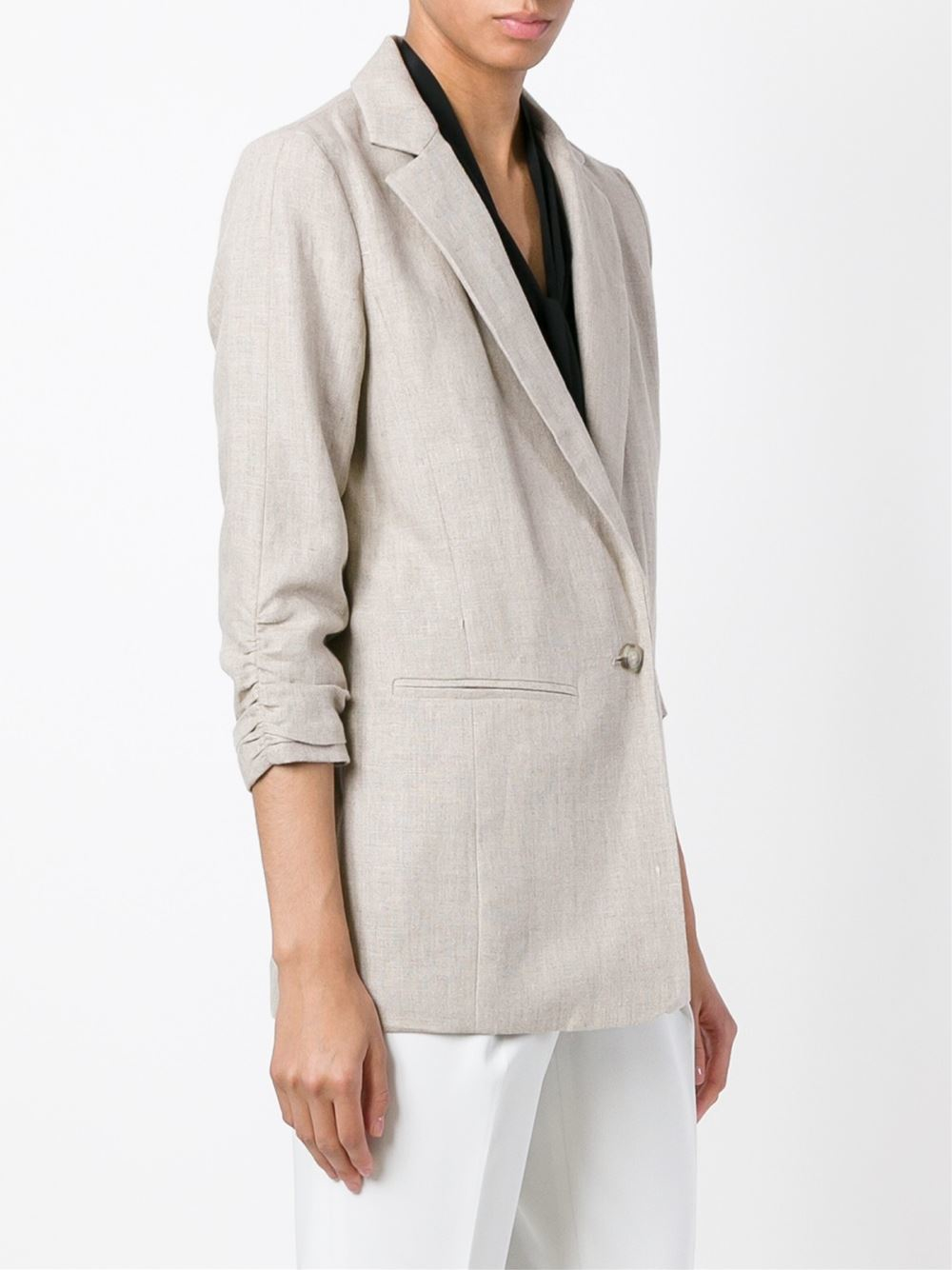 lyst michael michael kors gathered sleeves blazer in gray. Black Bedroom Furniture Sets. Home Design Ideas