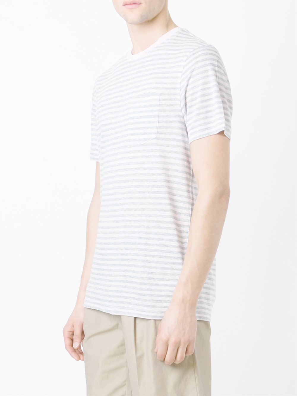 michael kors striped t shirt in gray for men lyst. Black Bedroom Furniture Sets. Home Design Ideas