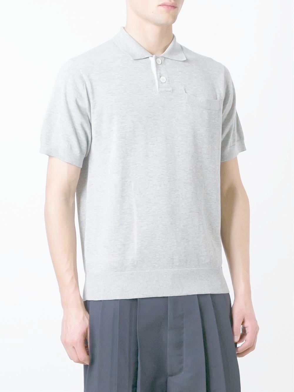 Sacai chest pocket polo shirt in gray for men lyst for Men s polo shirts with chest pocket