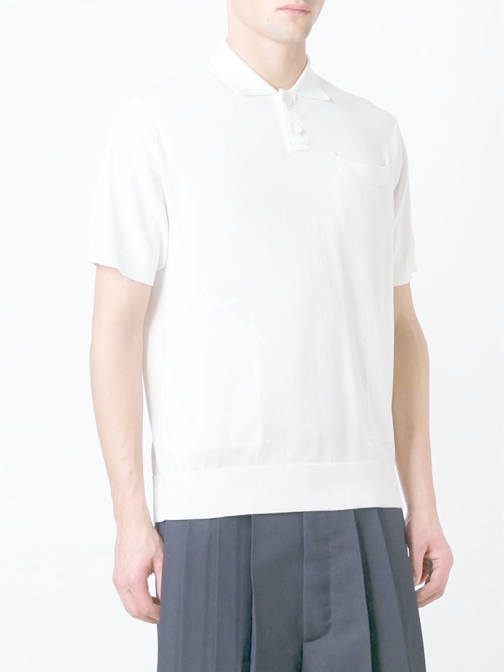 Lyst sacai knit polo shirt in white for men for Knitted polo shirt mens