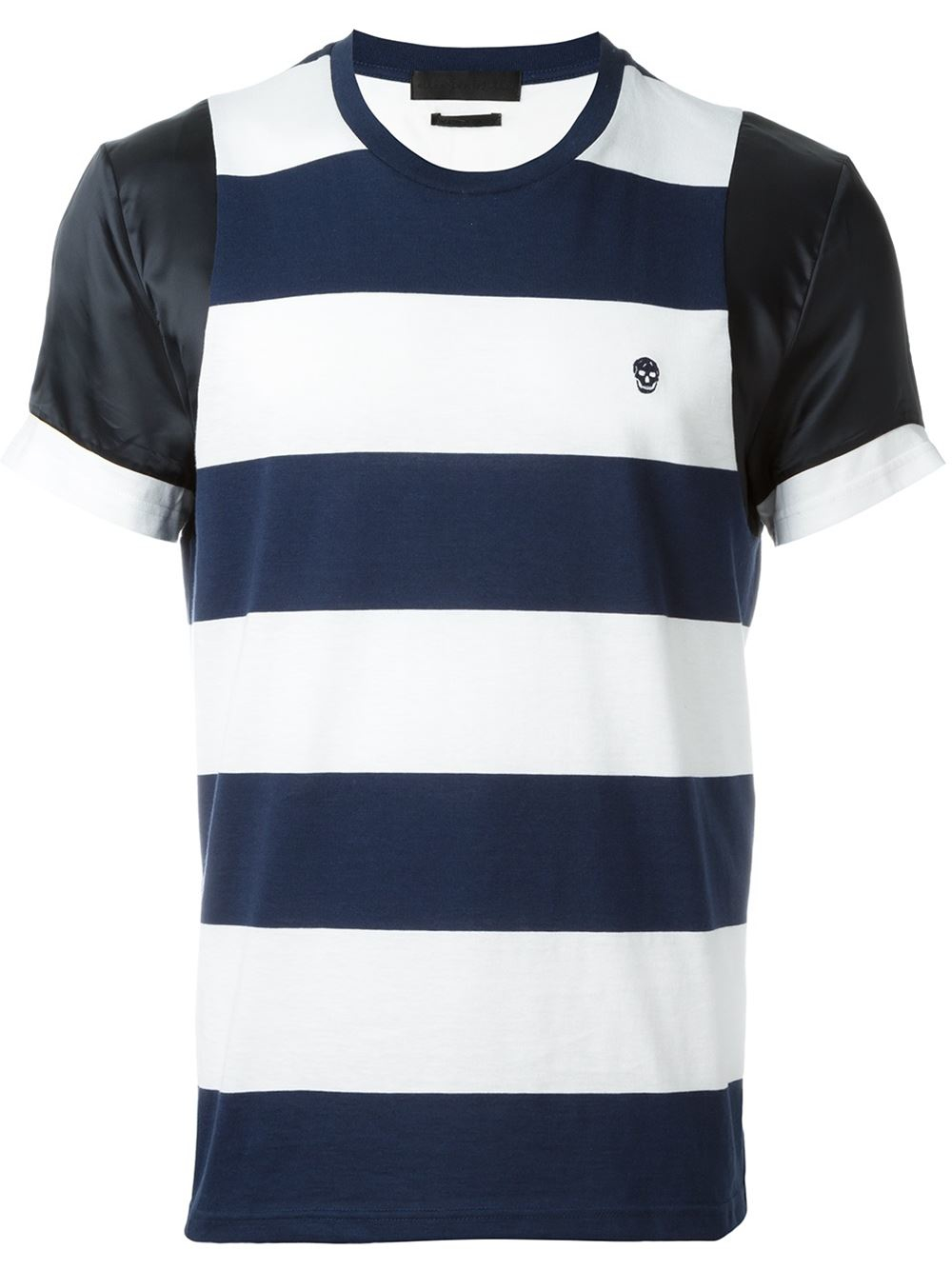 Lyst alexander mcqueen striped t shirt in blue for men for Alexander mcqueen shirt men