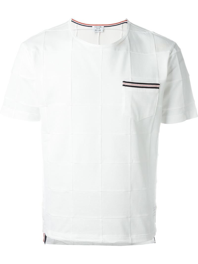 Thom browne panelled t shirt in white for men lyst for Thom browne t shirt