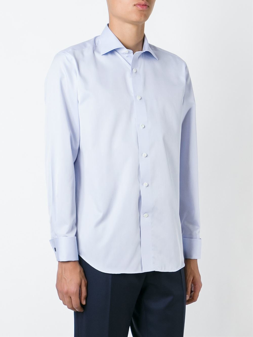 Canali Cuffed Classic Button Down Shirt In Blue For Men Lyst