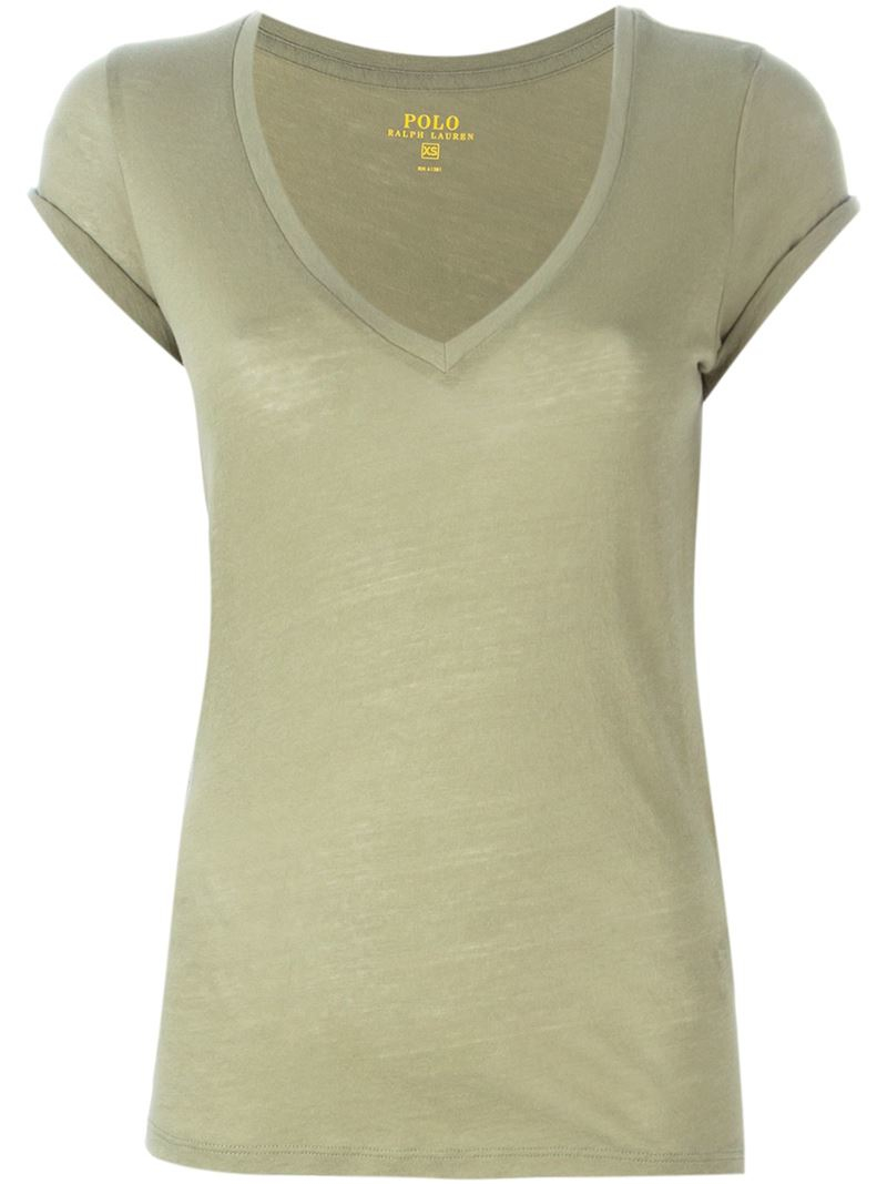 Lyst Polo Ralph Lauren V Neck T Shirt In Natural