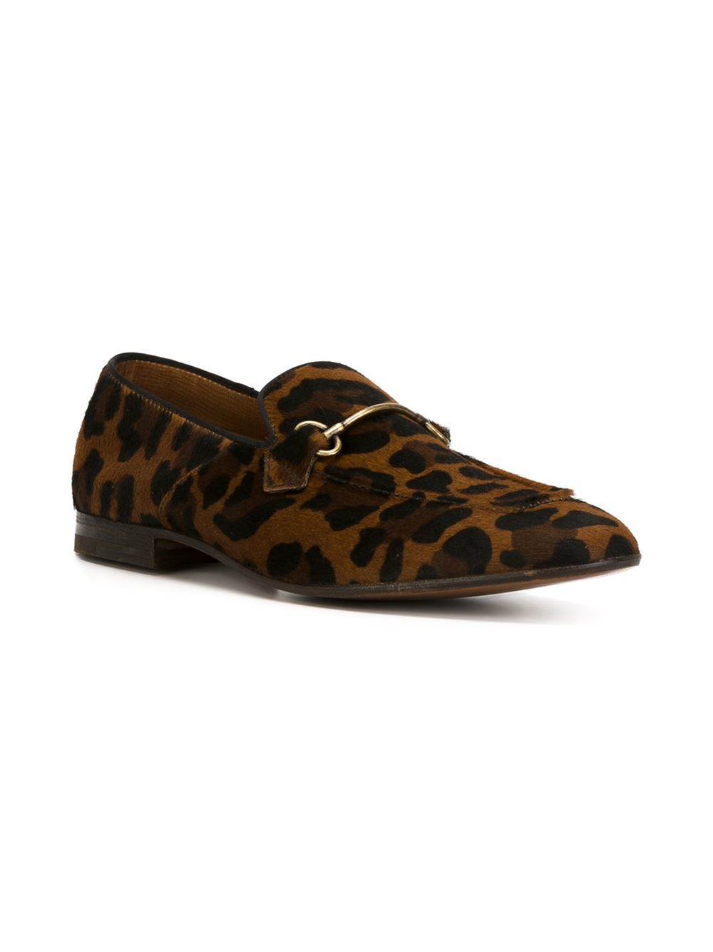 Henderson Cammello Animal Print Loafers In Brown For Men