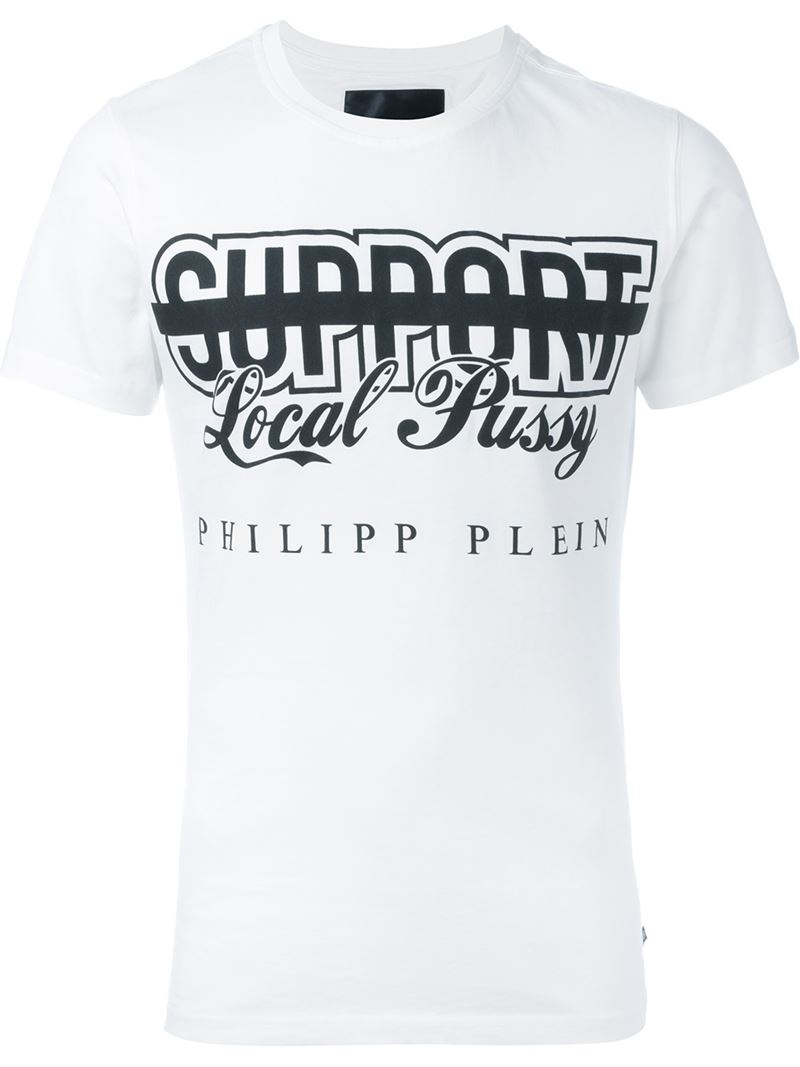 lyst - philipp plein 'support local pussy' t-shirt in white for men