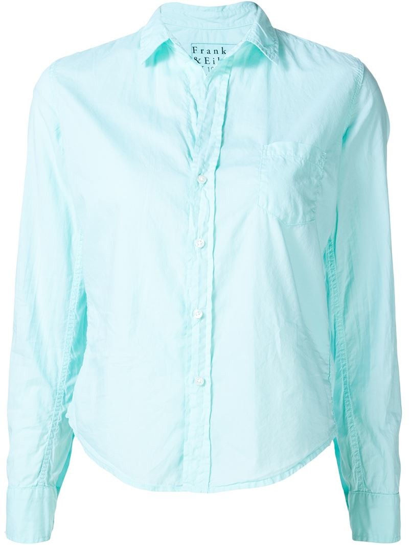 Frank Eileen Patch Pocket Shirt In Teal Blue Save 50