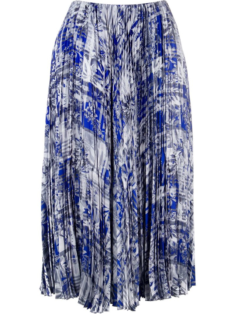 astraet palm tree and stripe print pleated midi skirt in