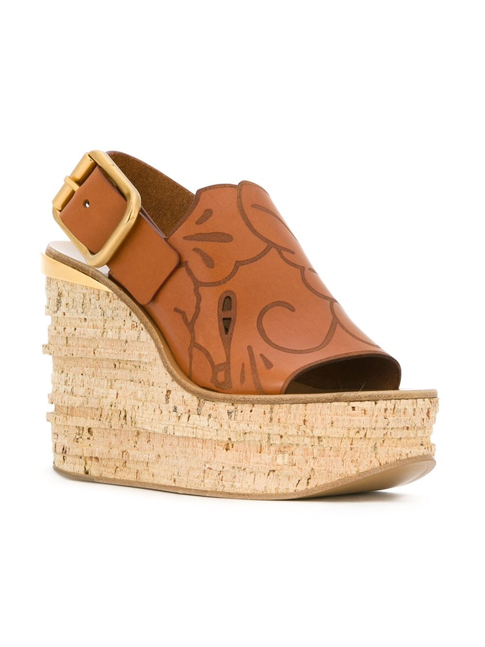 Lyst Chlo 233 Chlo 233 Embroidered Wedge Sandals In Brown