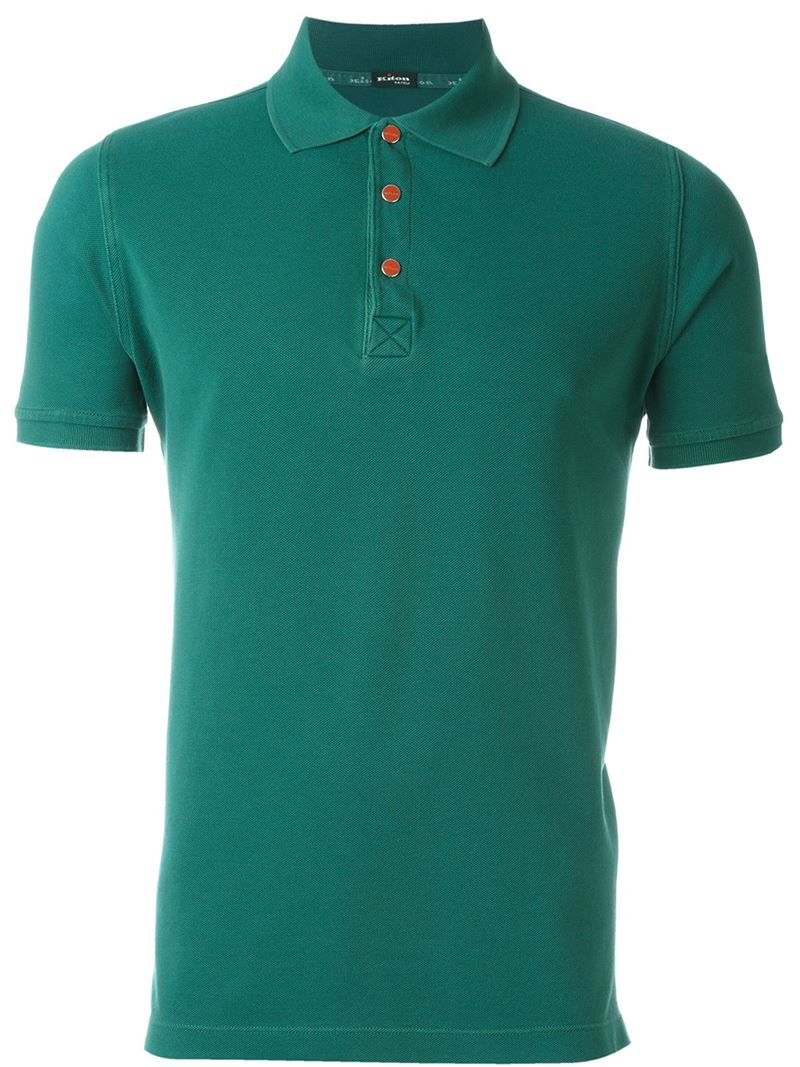 Lyst kiton contrast button polo shirt in green for men for No button polo shirts
