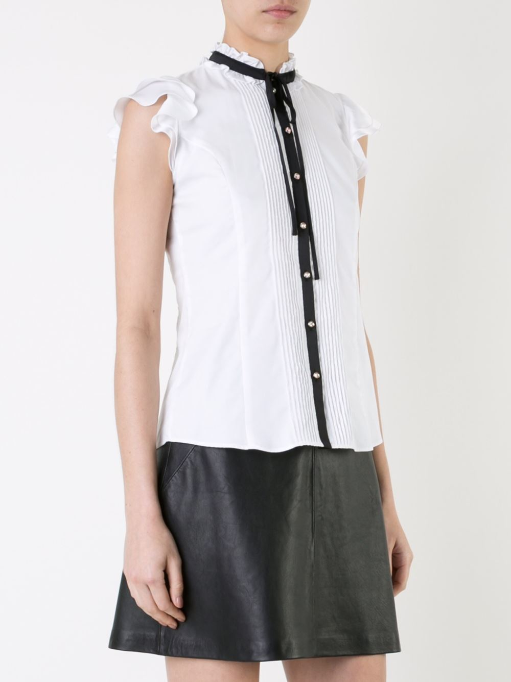 Guild prime contrast fastening ruffled lace button down for Sleeveless cotton button down shirts