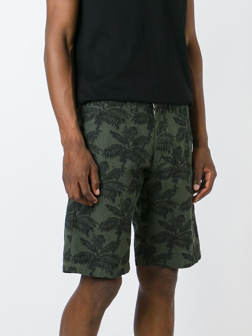 Carhartt Johnson Palm Tree Print Bermuda Shorts In Green
