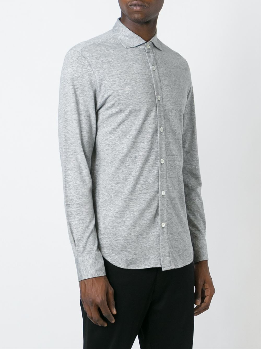 Lyst eleventy button down shirt in gray for men for Grey button down shirt