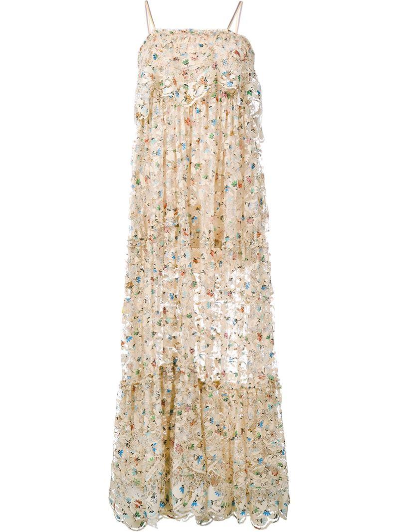 chlo u00e9 sleeveless floral print lace dress