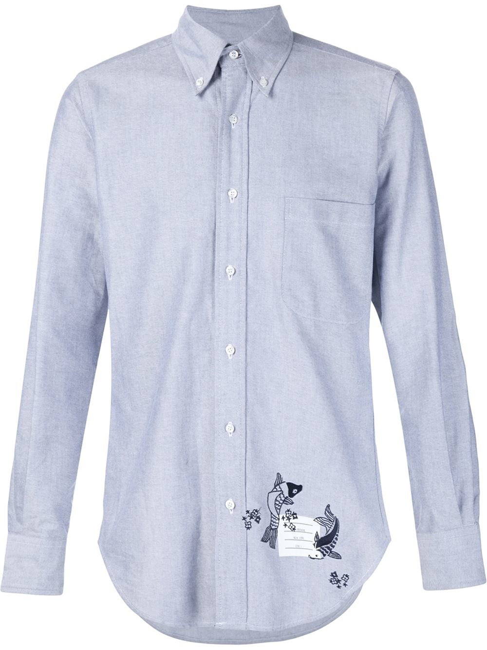 Thom browne embroidered fish shirt in blue for men lyst for Embroidered fishing shirts