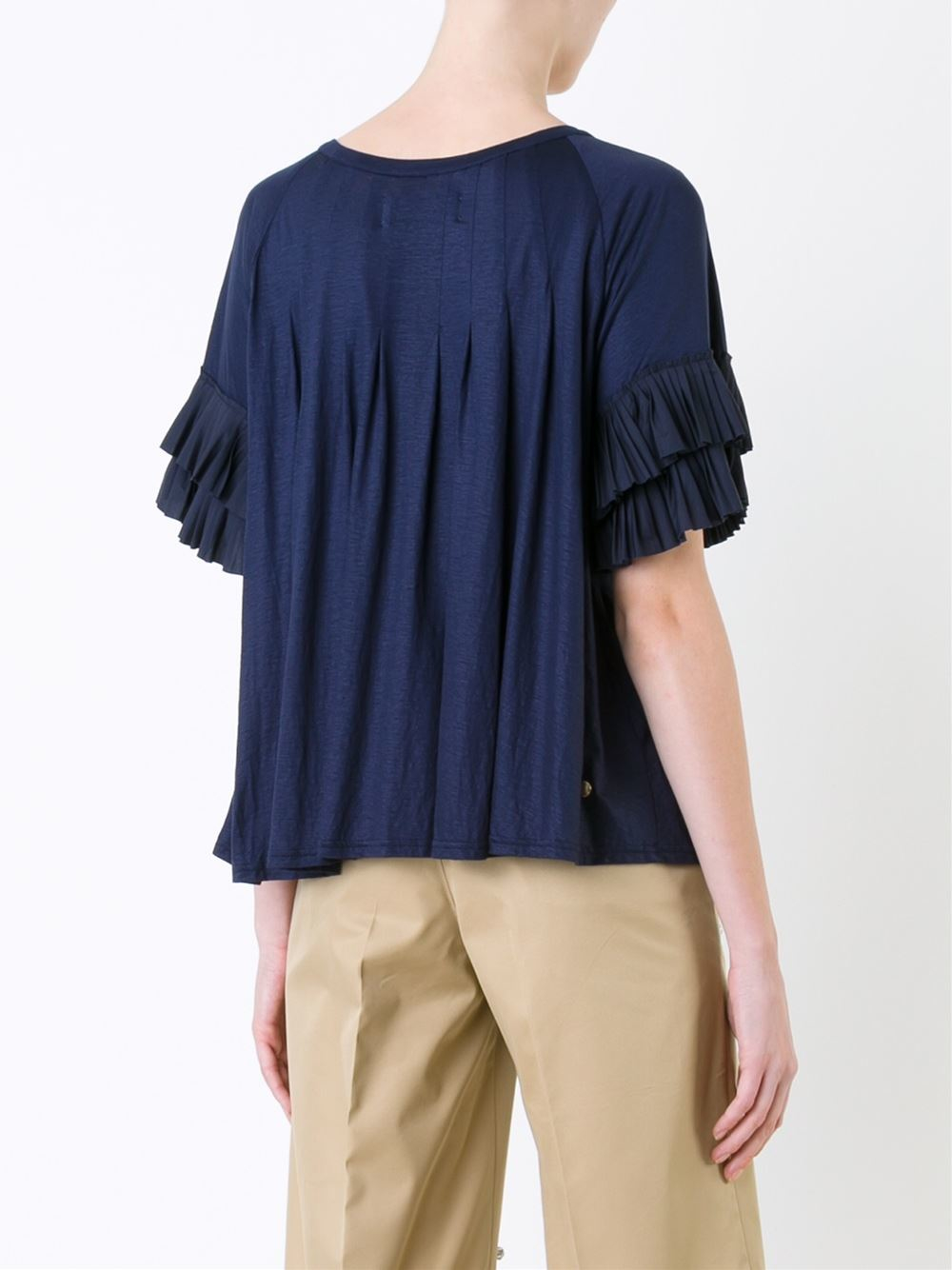 Lyst muveil ruffle sleeve pleated t shirt in blue for Frill sleeve t shirt